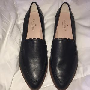 Kate spade black scalloped point toe loafer flats